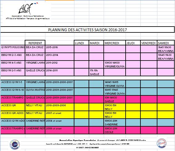 Planning des activités 2016/2017